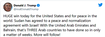ISRAEL SUDAN PEACE DONALD TRUMP TWEET